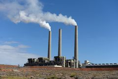 Electric plant with chimney stack stock images
