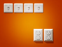 Electric plug. Fine 3d image of white electric plug on orange wall Royalty Free Stock Photography