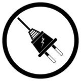 Electric plug black silhouette Stock Images