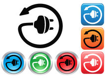Electric plug button icons set Stock Photos