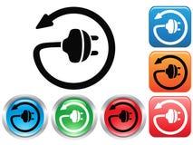 Electric plug button icons set Stock Photos