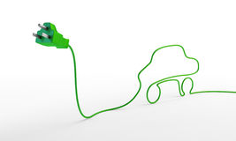 Electric plug with a car-shaped cord. Royalty Free Stock Images