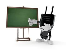 Electric plug character with blank blackboard. Isolated on white background. 3d illustration Stock Image