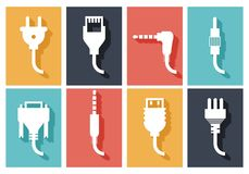 Electric plug flat icons Royalty Free Stock Photography