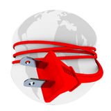 Electric Plug Has Earth in Stranglehold. A red electric plug is wrapped around the world and strangling it, symbolizing the population's growing reliance on Stock Photos