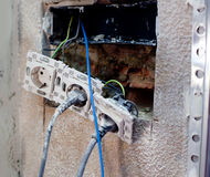 Electric plug in home improvement repair Royalty Free Stock Images