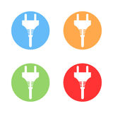 Electric plug icon. Electric plug round colourful icons royalty free illustration