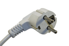 Electric plug isolated on the white. White plastic electric plug isolated on the white Royalty Free Stock Photo