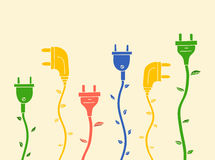 Electric plug with leaves without contour Stock Image