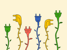 Electric plug with leaves Royalty Free Stock Images