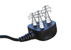 Electric plug with pylons. Plug with pylons where pins should be. Concept to show how electricity is sourced Royalty Free Stock Photos