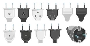 Electric Plug Set. 3d Vector. Plugs Icons. Connection Cable. Vector Illustration Of Various Electric Plugs. Stock Photography