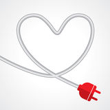 Electric plug in the shape of heart Stock Images