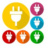Electric plug sign icon, Power energy symbol set with long shadow Stock Image