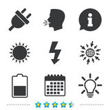 Electric plug sign. Light lamp and battery half. Electric plug icon. Light lamp and battery half symbols. Low electricity and idea signs. Information, go to web Stock Images