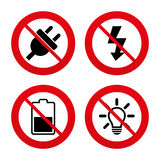 Electric plug sign. Light lamp and battery half Stock Photo