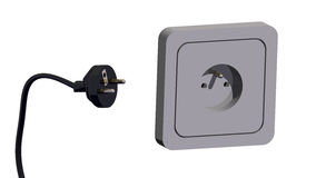 Electric plug and socket 3d Royalty Free Stock Photography