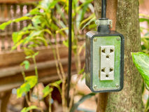 Electric plug socket in the garden. stock images