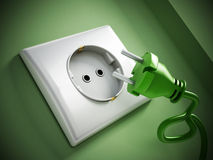 Electric plug and socket Stock Photo