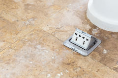 Electric plug sockets set up on the floor Royalty Free Stock Image