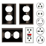 Electric Plugs. An illustrated set of various electric boards, and sockets, isolated on a white background Royalty Free Stock Photos