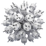 Electric plugs in knotted cable Stock Photo