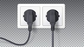 Electric plugs and socket. Realistic black plugs inserted in white electrical outlet, isolated on transparent. Vector 3D Royalty Free Stock Photo