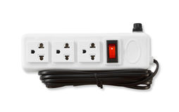 Electric  plugs and a socket  on white background Stock Photo