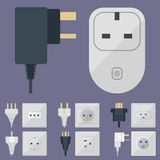 Electric plugs stack outlet illustration energy socket electrical outlets plugs european and usa, asia appliance. Electric plugs stack outlet illustration energy Stock Photography