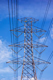 Electric pole. Partial part of electric pole in blue sky Stock Photos