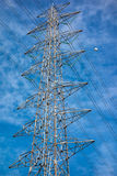 Electric pole. Partial part of electric pole in blue sky Stock Images