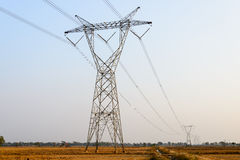 Electric Pole. In a field Stock Images