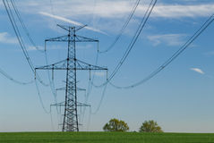 Electric pole. In green farm field Royalty Free Stock Image