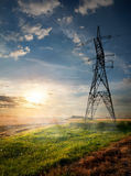 Electric pole and autumn field Royalty Free Stock Photo