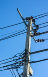 Electric pole and black wire Royalty Free Stock Images