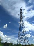 electric pole on blue sky Royalty Free Stock Photo