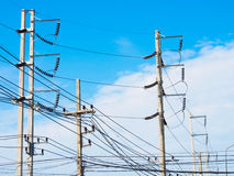 Electric pole with blue sky Stock Image