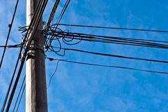 Electric pole with cables Stock Photography