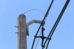Electric pole in the city Stock Images
