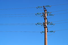 Electric pole. On a cloudless day stock photo
