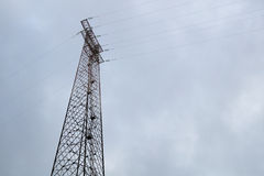 Electric Pole. On a cloudy day royalty free stock photos
