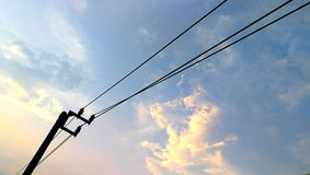 Electric pole. Have beautiful sky cloudy background Royalty Free Stock Photo