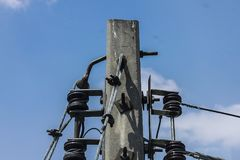 Electric pole. Made of concrete Stock Photos