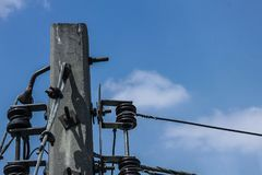 Electric pole. Made of concrete Stock Image