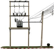 The electric pole and electric transformer. For factory, isolated on white background Royalty Free Stock Photo