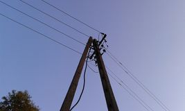 concrete electric pole ... under voltage royalty free stock image