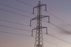 Electric pole. High voltage electric pole conducting electrical energy Stock Image