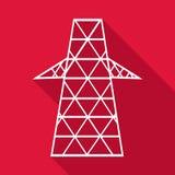 Electric pole icon, flat style Royalty Free Stock Photos