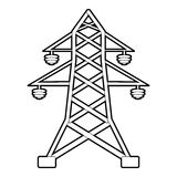 Electric pole icon, outline style Royalty Free Stock Photos