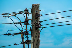 Electric pole with insulators Royalty Free Stock Photo